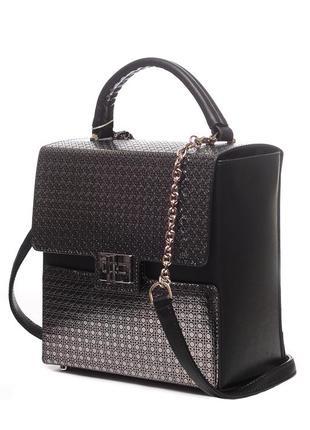 Женская корпусная сумка-квадрат, натуральная итальянская кожа. черный, серебро