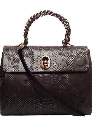 """Универсальная женская сумка, итальянская кожа с тиснением """"анаконда"""", цвет графит."""