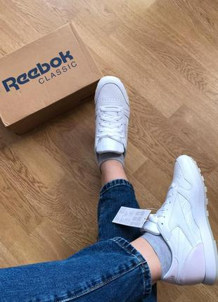 Оригинал reebok leather white кроссовки