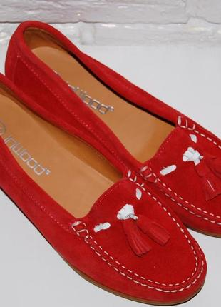 Туфли лоферы мокасины замш кожа красные 36-р-р