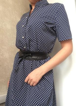 Синее макси платье в горох/длинное платье в пол с воротником-стойкой/р. 46-48