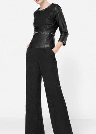 Распродажа!кожаная кофта,блуза uterque,черный кожаный пиджак,жакет с баской