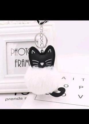 Брелок кот рекс кролик аксесуар рюкзак сумка белый черный