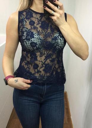 Ажурная синяя майка1 фото