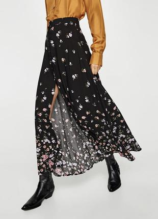 Макси юбка на пуговицах zara цветочный принт