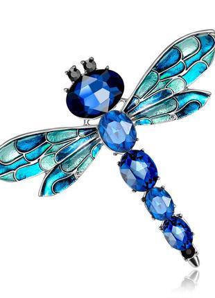 Брошь женская бижутерия насекомые стрекоза br110575 синяя