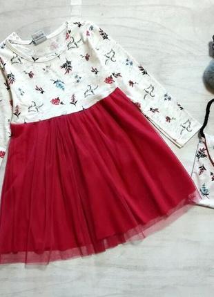 Красивое платье с юбкой из фатина ( евросетки) с сумочкой для девочки