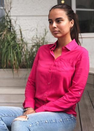 Рубашка женская малиновая из штапеля