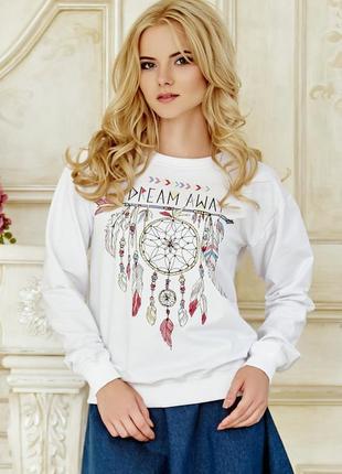 Белый свитшот женский с принтом