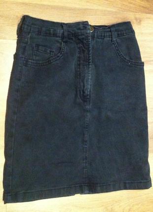 Крутая джинсовая юбка высокая талия