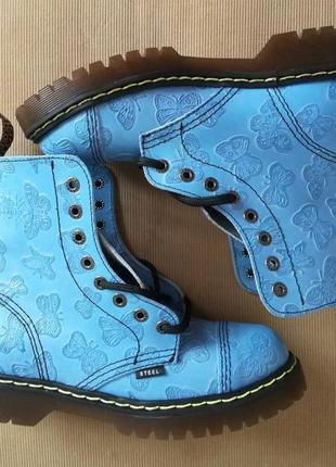 Женские ботинки steel с бабочками деми на 8 дырок