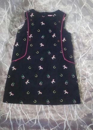 Вельветовое платье,сарафан с единорожками