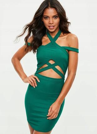 Missguided сексуальна зелена бандажна сукня