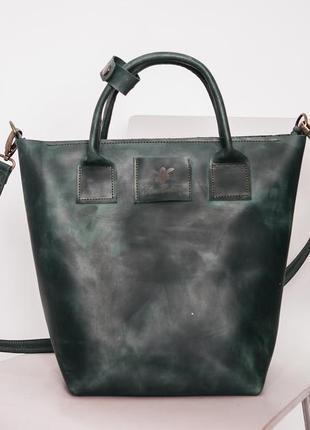 039fec190ab3 Сумка кожаная большая женская стильная в темно-синем цвете сумка шоппер  через плечо1 фото ...