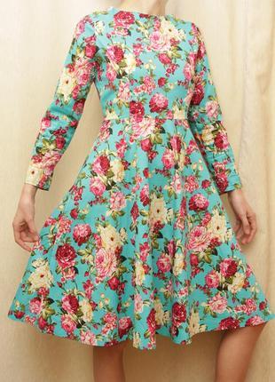Платье, весна осень, цветочный принт цветы
