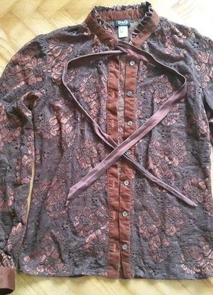 Гипюровая блуза с вельветово/шелковым декором от d&g! p.-42 итал