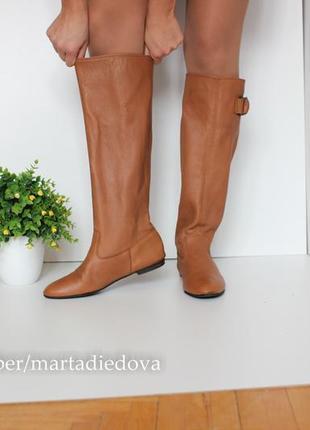 Кожаные сапоги трубы, натцральная кожа полностью, бренд zara