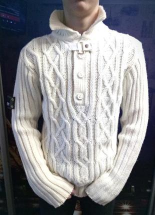 Распродажа!🐞шерстяной свитер с воротником от crosshatch, джемпер.скидка