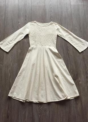 Платье льняное с длинным рукавом в этническом, средневековом стиле, бохо