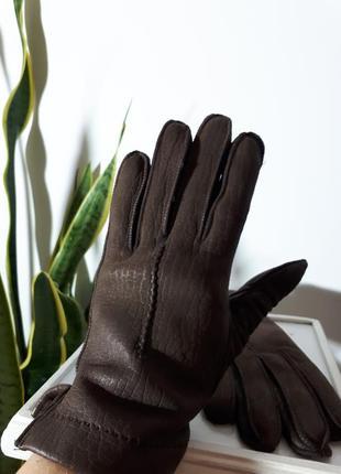 Итальянские кожаные перчатки с мехом в нутри
