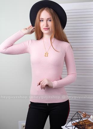 Пудровый розовый гольф лапша в рубчик свитер джемпер водолазка теплая кофта