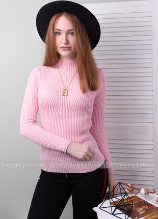 Розовый пудровый гольф лапша в рубчик свитер джемпер водолазка теплая кофта