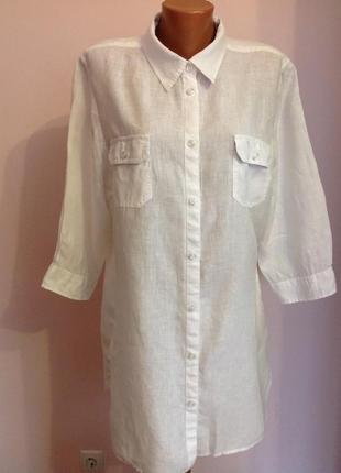 Длинная леновая туника- рубашка. /xxl/ brend jean paul