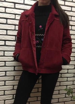 Дубленка куртка из замши на кнопках пальто