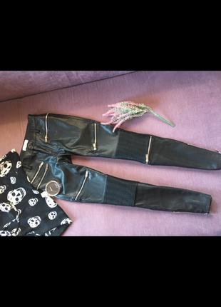Трендовые штаны zara кож зам с замочками в идеале