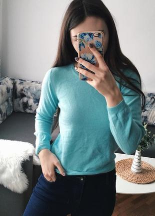 Кашемировый свитер голубой мягкий кроп укороченный asos размер s