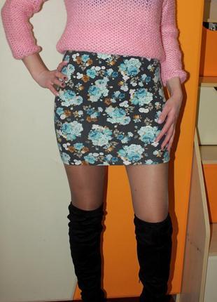Стрейчевая юбка с высокой посадкой