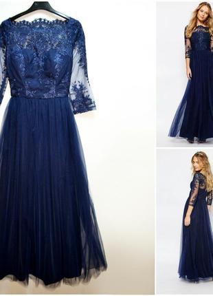 Оригинальное шикарное многослойное платье с кружевом сhi сhi london