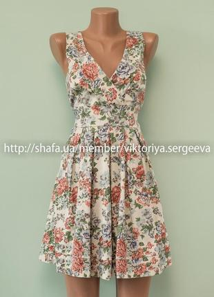 Большой выбор платьев - шикарное летнее платье в цветочный принт хлопок