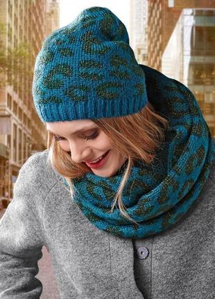 Вязаный , теплый комплект 2в1 шапка + шарф хомут , снуд германия
