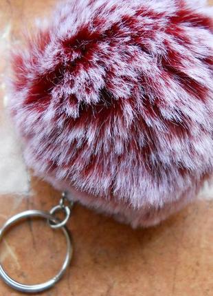 Брелок меховой помпон, шарик натуральный мех на сумку, красный бордовый омбре