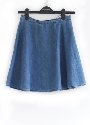 Трендовая стильная джинсовая юбка-солнце высокая талия