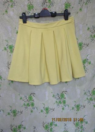 Яркая жёлтая юбка в складку/в рубчик