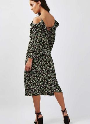 Платье миди в цветы, на запах, с интересной спинкой topshop, цветочный принт