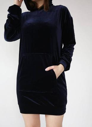 Бархатное платье худи, свитшот