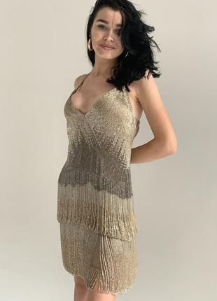 Платье в стиле латино из бисера и шёлка roberto cavalli оригинал