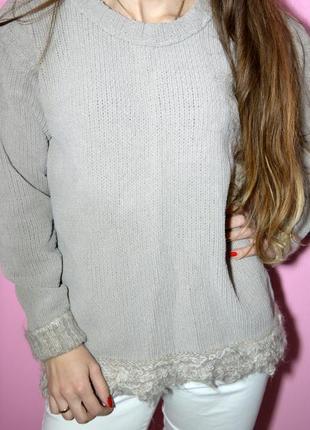 Велюровый свитер серый красивый свитер