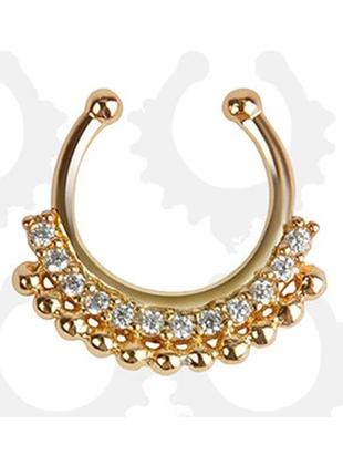 Септум обманка пирсинг украшение на нос бохо этно индийское золотой