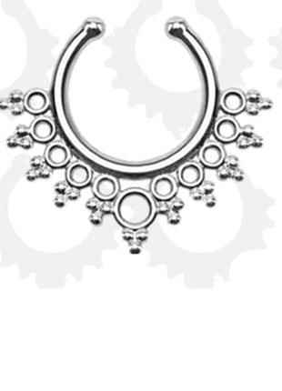 Септум обманка пирсинг украшение на нос бохо этно индийское цвет серебро