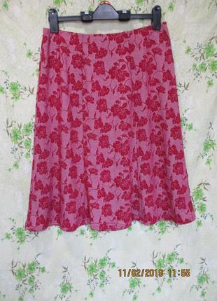 Красивая юбка миди из фактурной ткани/принт
