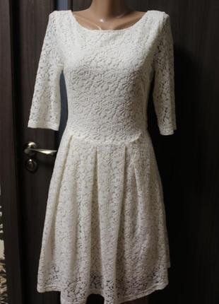 Гипюровое платье next в идеальном состоянии s