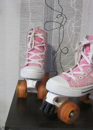 Антитравматические роликовые коньки ролики скейт ботинки 4 колеса 36
