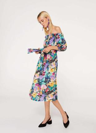 Хлопковое платье с открытыми плечами mango. оригинал, испания
