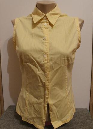 Безрукавка блуза женская marks & spencer желтая, рубашка хлопковая