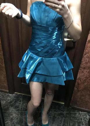 Выпускное короткое бирюзовое платье