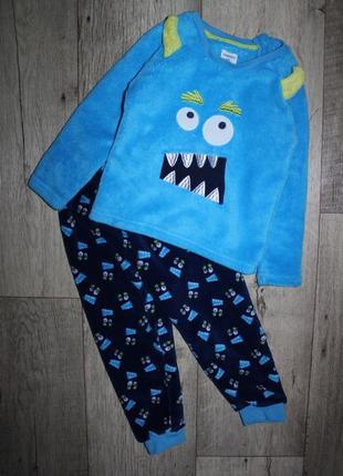 Теплая плюшевая пижама махра травка монстрик primark 2-3 года, рост 92-98 см.